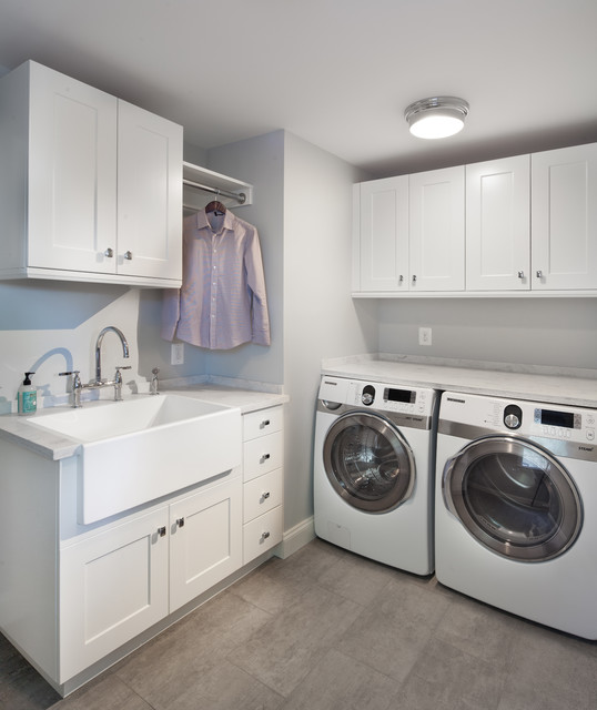 Slop Sink Laundry Room Transitional with Apron Sink Clothes Rod Dryer Drying Center Farmhouse Sink