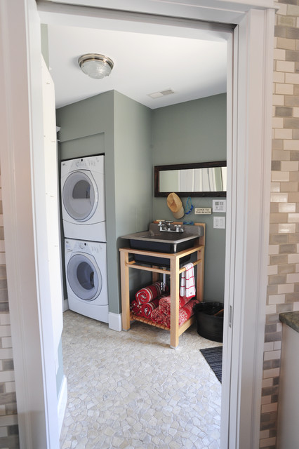 Slop Sink Laundry Room Transitional with Front Loading Dryer Front Loading Waster Laundry Room Mosaic Pebble Floor