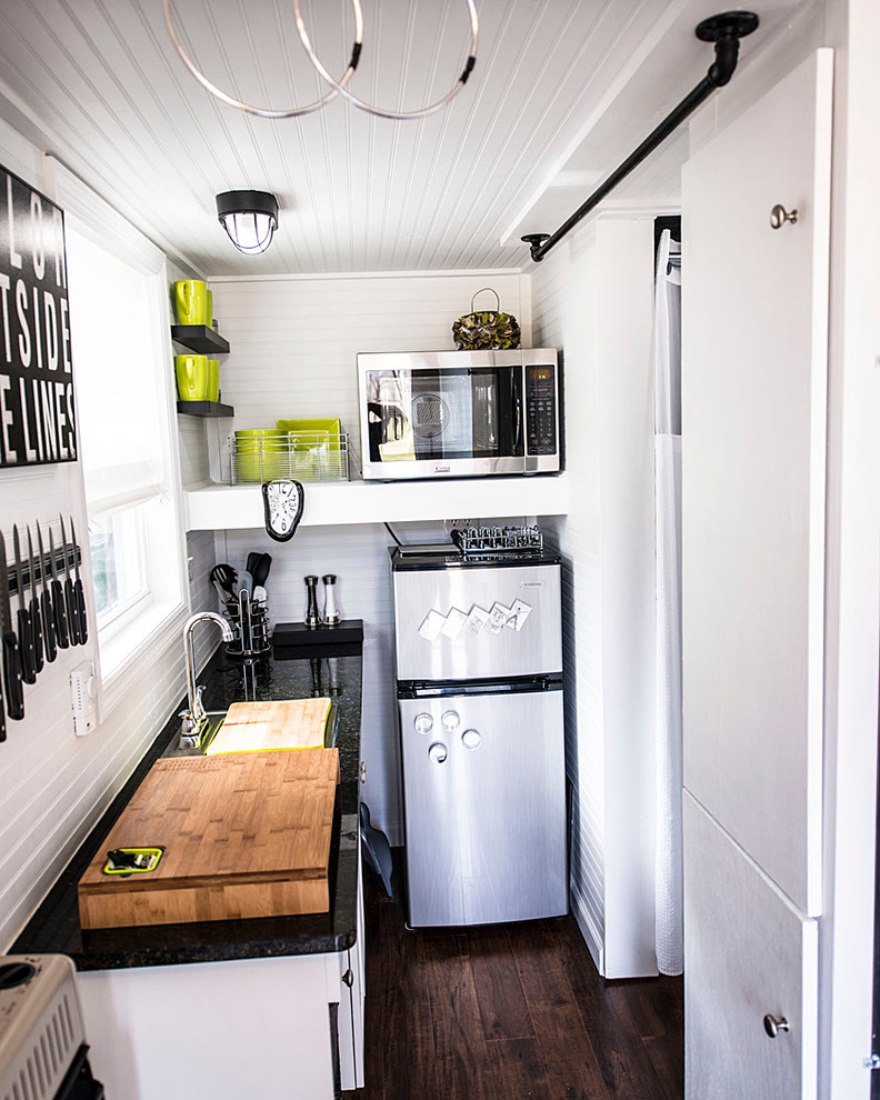 Small Dinette Sets Kitchen Eclectic with Black Countertop Built in Cabinets Ceiling Light Chopping
