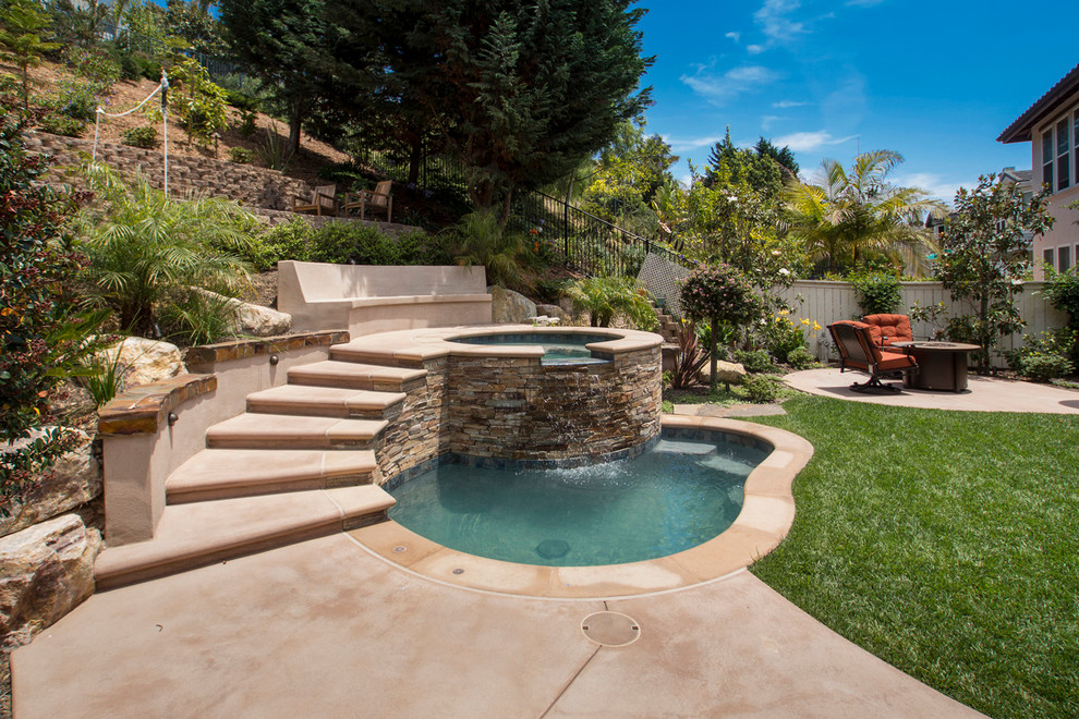 Small Inground Pools Pool Traditional with Concrete Bench Concrete Patio Concrete Stairs Grass