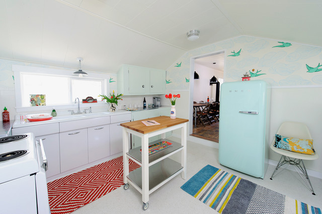 Smeg Fridge Kitchen Eclectic with Beige Wall Bend Bird Wallpaper Blue Striped Rug Colorful