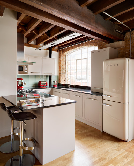 smeg fridge Kitchen Industrial with bar stools breakfast bar exposed brick exposed wooden beams