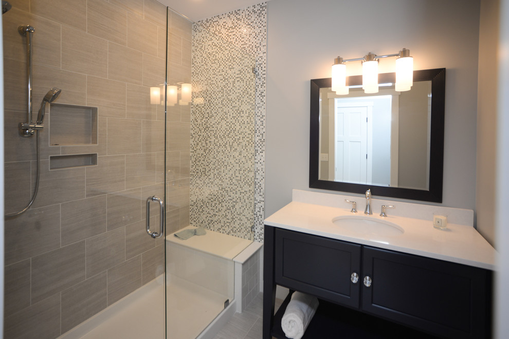 Soaker Tub Bathroom Transitional with Accent Wall Mosaic Tiles Open Shelf
