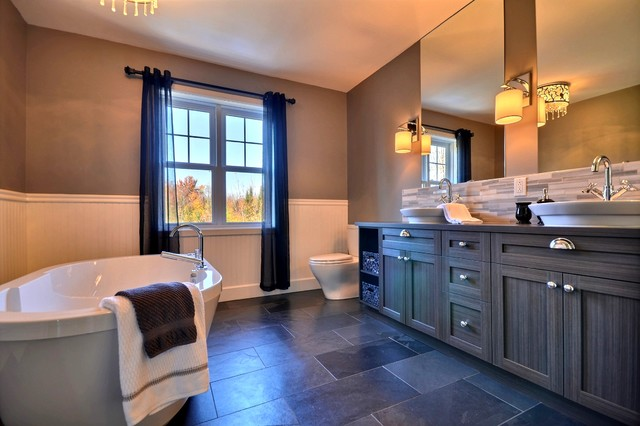 Soaking Bathtubs Bathroom Transitional with Beige Beadboard Beige Wainscoting Brown Wall Ceiling Light Chrome