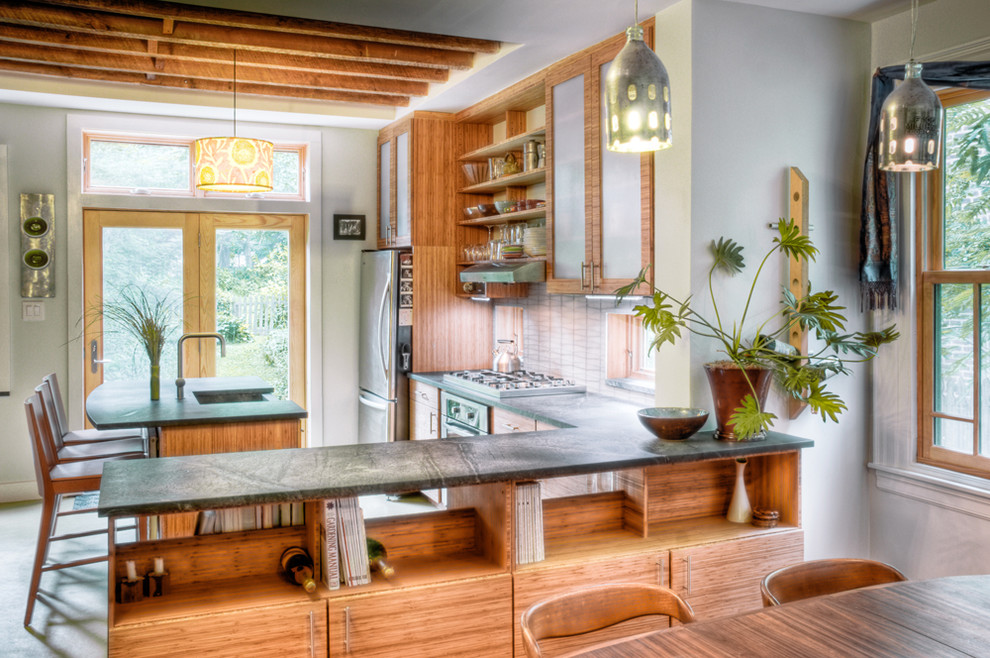 Soapstone Counters Kitchen Contemporary with Breakfast Bar Container Plants Drum Lampshade Drum