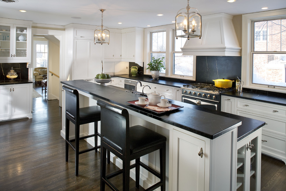 Soapstone Counters Kitchen Traditional with Breakfast Bar Chair Custom Oven Hood Custom