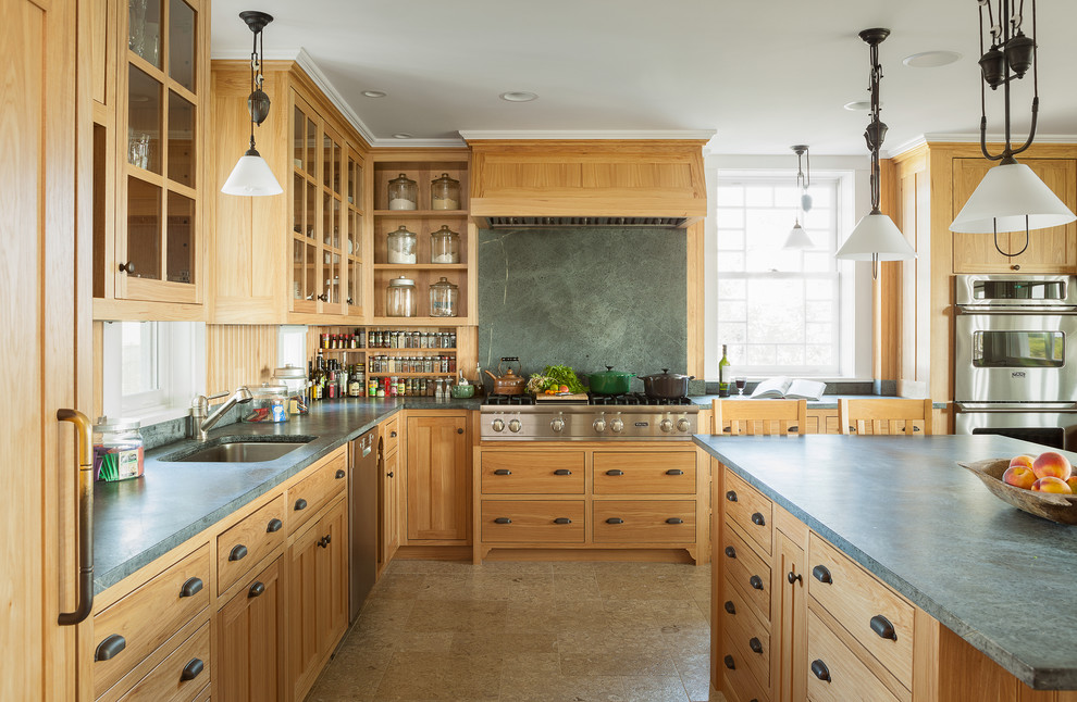 Soapstone Countertop Kitchen Traditional with Built in Spice Rack Cabinets Cooktop Cottage Counters1