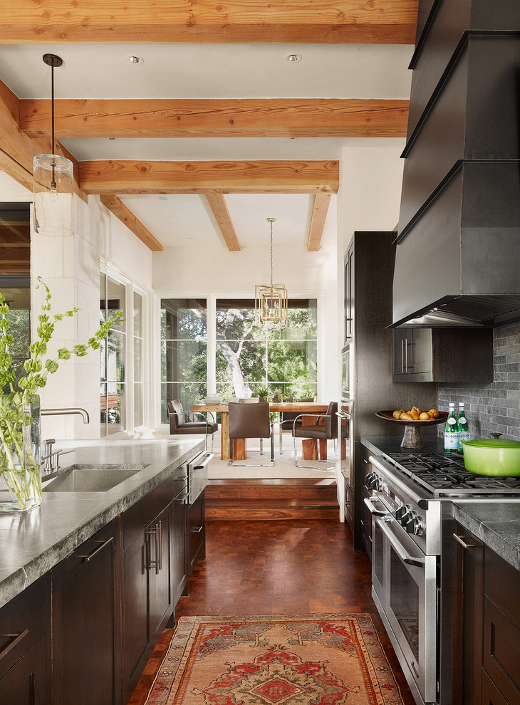Soapstone Countertops Kitchen Contemporary with Dark Wood Cabinets Exposed Beams Island Lighting