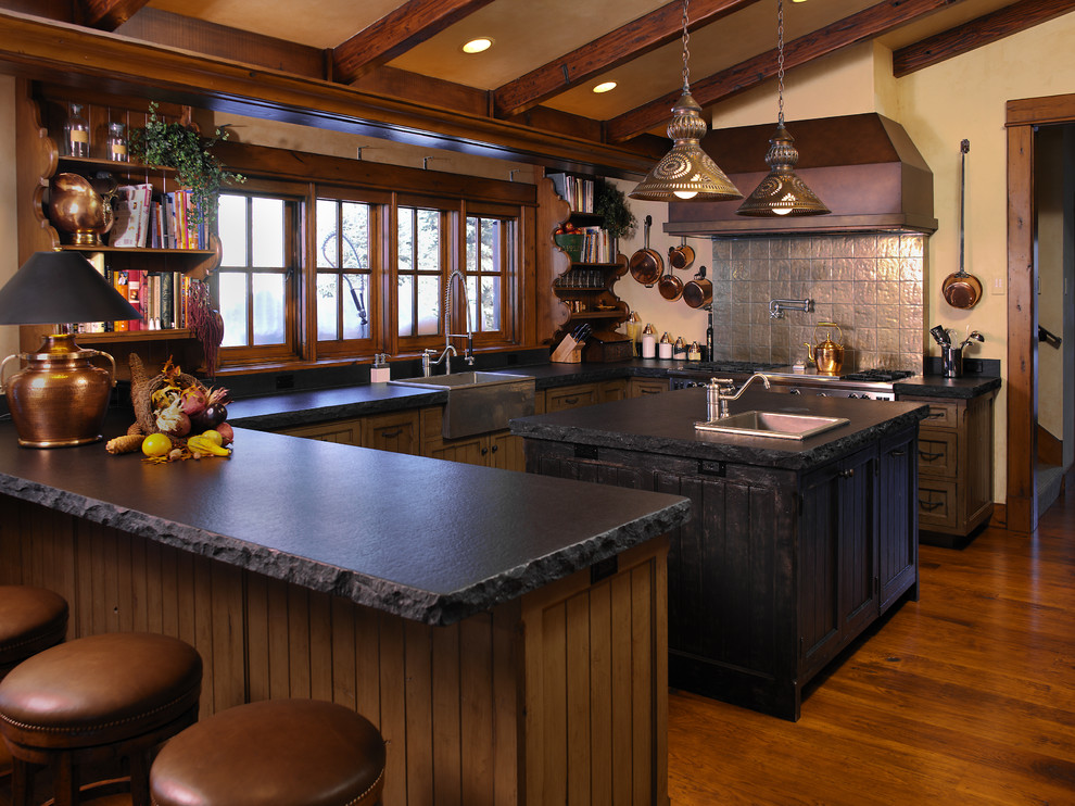 Soapstone Countertops Kitchen Rustic with Backless Bar Stools Built in Shelves Country Exposed