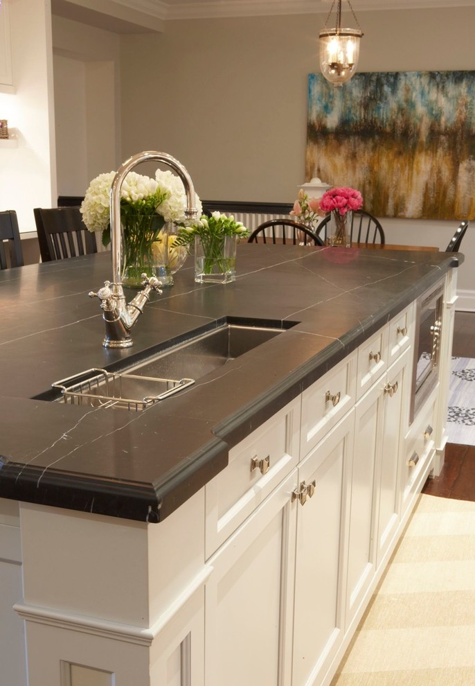 Soapstone Countertops Kitchen Traditional with Bell Pendant Floral Arrangement Kitchen Island Open