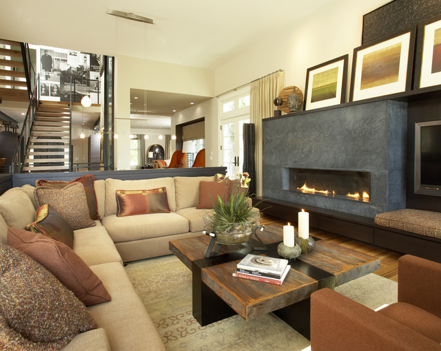 Soapstone Fireplace Family Room Contemporary with Area Rug Arm Chair Art Arrangement Banquette Seating Color