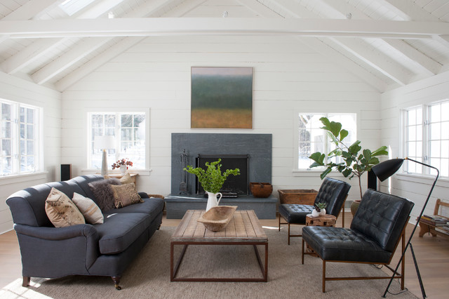 Soapstone Fireplace Living Room Farmhouse with Coffee Table Fireplace Floor Lamp Hearth Leather Chairs Painted