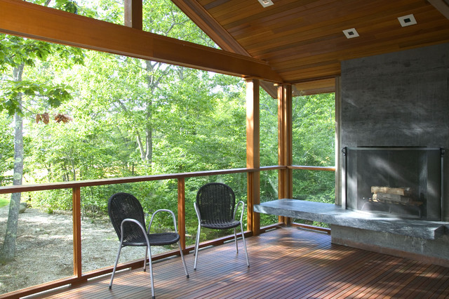 Soapstone Fireplace Porch Modern with Concrete Fireplace Covered Porch Deck Firescreen Hearth Mahagony Outdoor