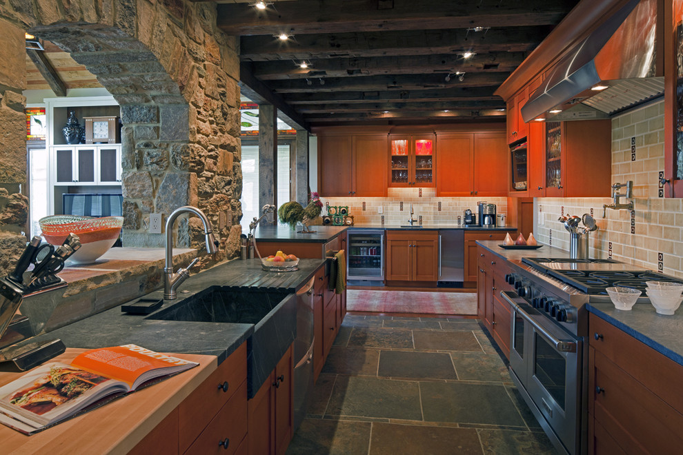 Soapstone Sink Kitchen Eclectic with Antique Beams Commercial Range Exposed Beams Glass
