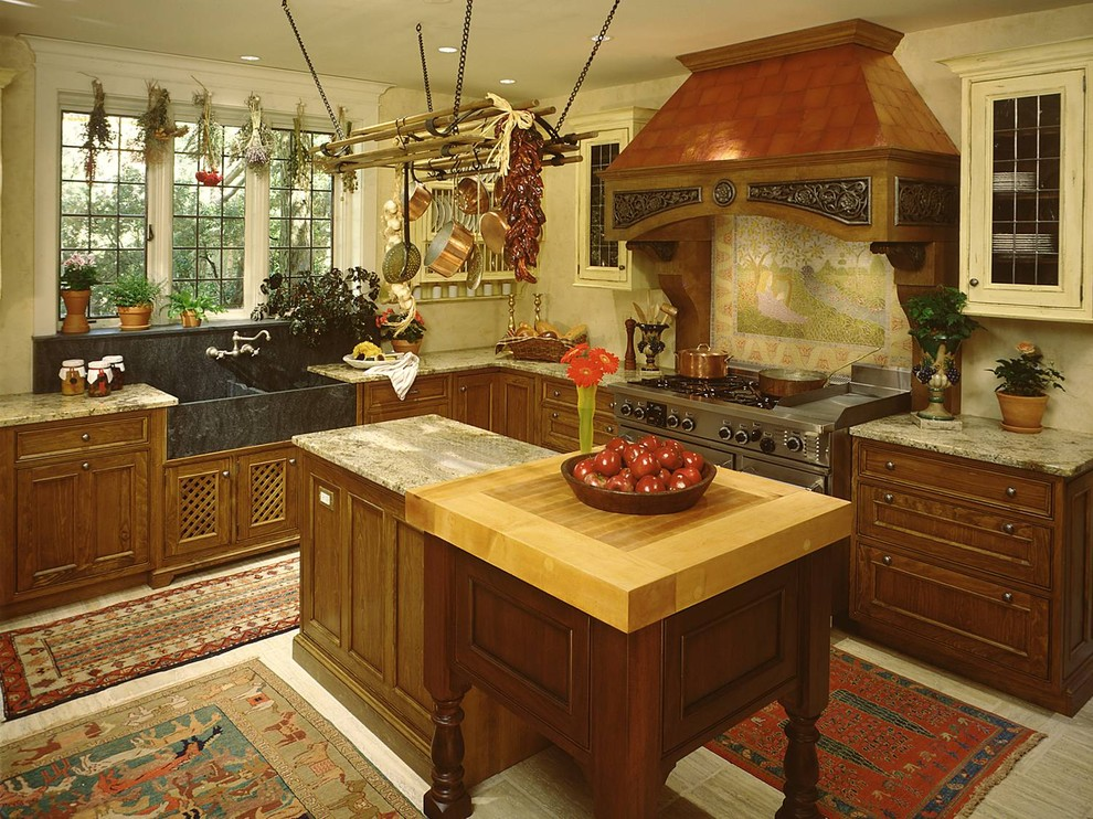 Soapstone Sink Kitchen Rustic with Apron Sink Butcher Block Countertops Copper Cookware