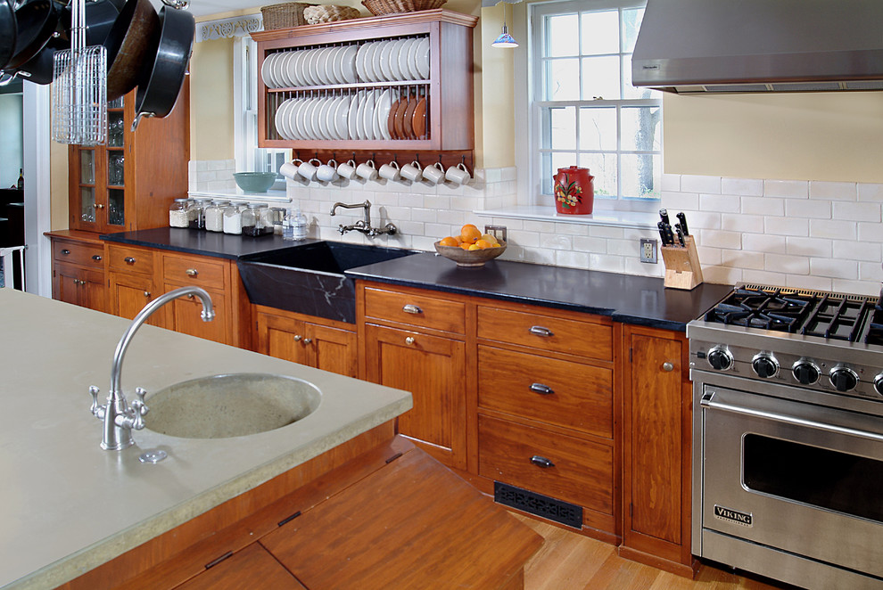 Soapstone Sink Kitchen Traditional with Blue Bell Concrete Counter Cream Walls Dish1