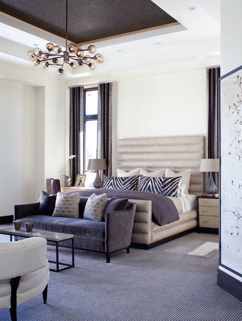 Sofa Mart Denver Bedroom Contemporary with Bed Bedding Bench Carpet Ceiling Treatment Coffee Table Curtains