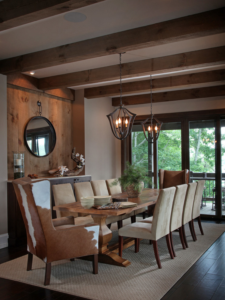 Solaria Lighting Dining Room Rustic with Exposed Beams Round Mirror Trestle Table Two