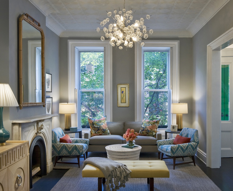 Solaria Lighting Living Room Transitional with Bamboo Mirror Bench Brownstone Carved Stone Fireplace