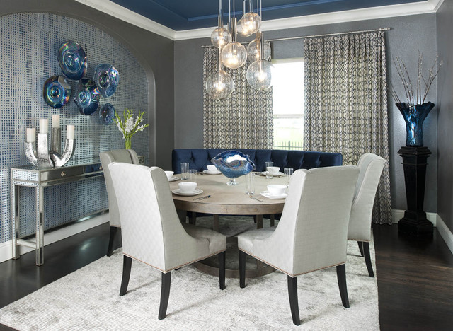 Sonneman Lighting Dining Room Contemporary with Baseboards Blue Grey Blue Silver Blue Ceiling Bubble Pendant