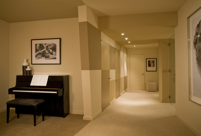 soundproof drywall Basement Contemporary with artwork basement basement ceiling basement drywall basement ductwork dropped