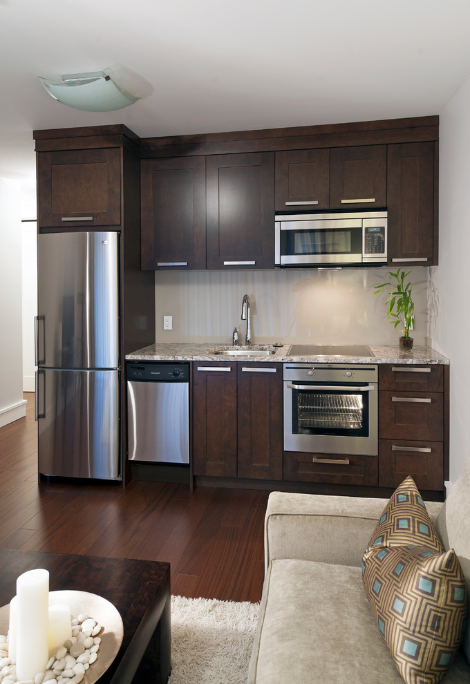Space Saver Microwave Kitchen Transitional with Basement Built in Fridge Cooktop Dark Dark Stained