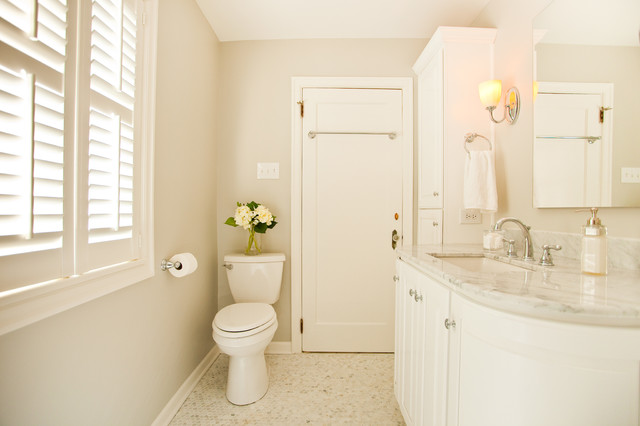 Speakman Faucets Bathroom Victorian with Bathroom Storage Beige Wall Curved Cabinets Louvers Marble Countertops