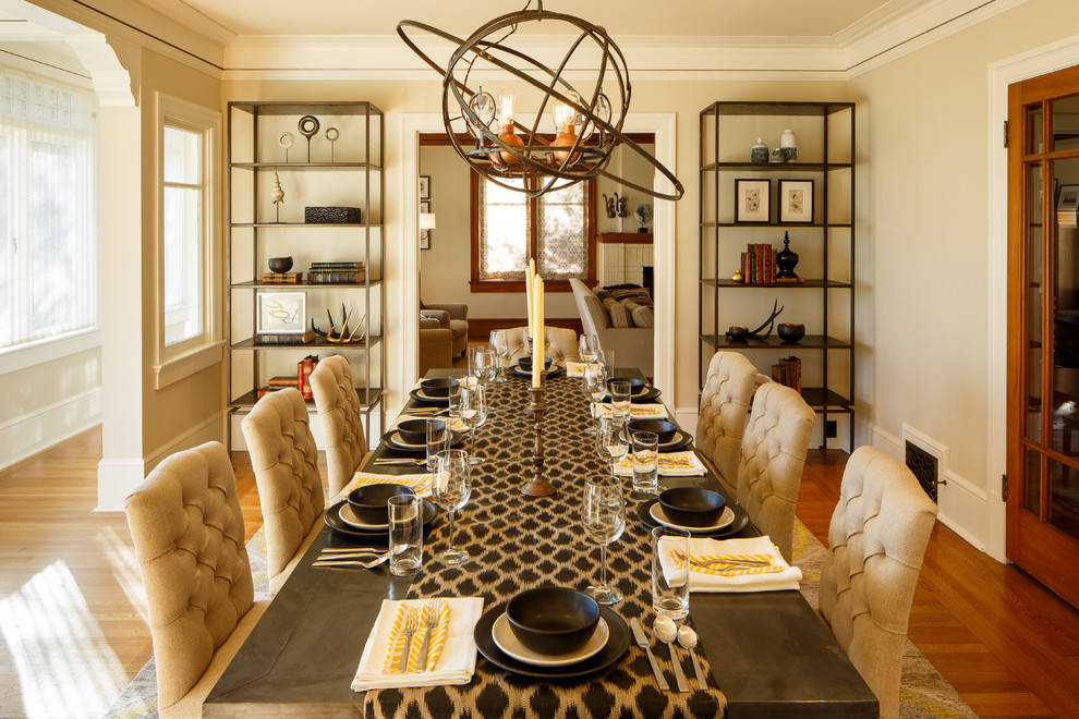 sphere-chandelier-dining-room-traditional-with-beige-wall-brown