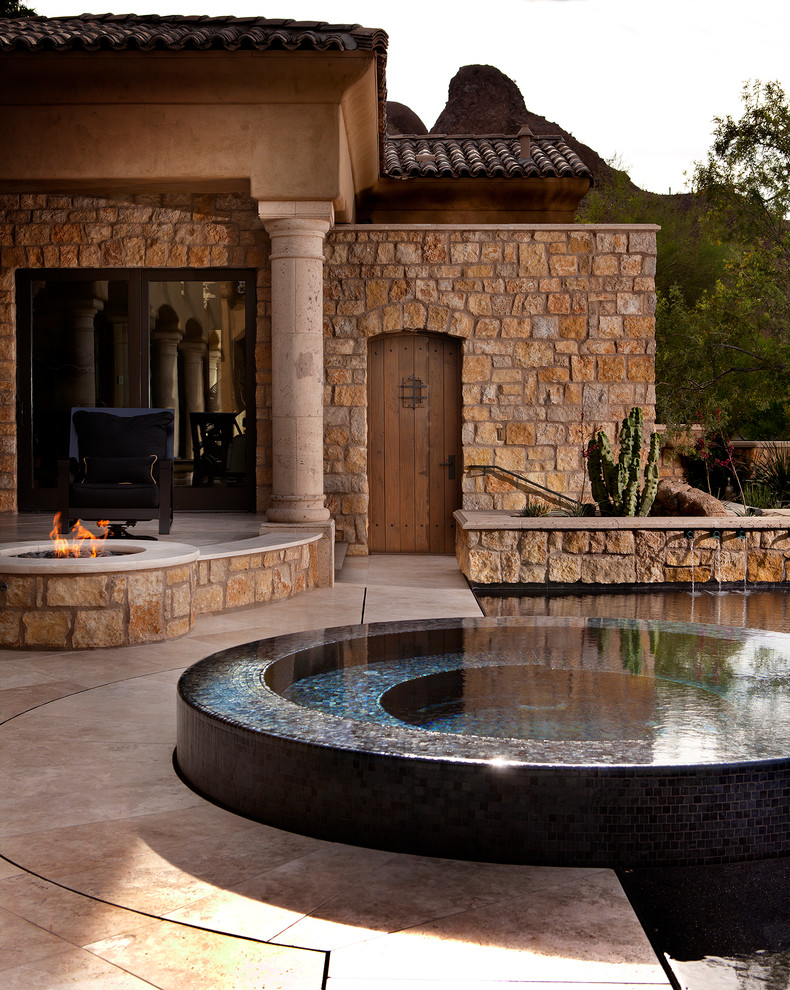 Spool Pool Patio Contemporary with Built in Seating Column Contemporary Pool Deck