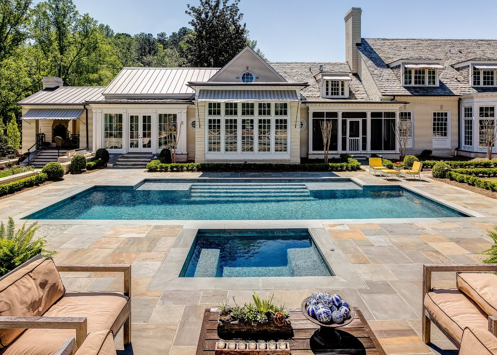 Spool Pool Pool Traditional with Beige Siding Dormer Windows Elements Landscape Outdoor