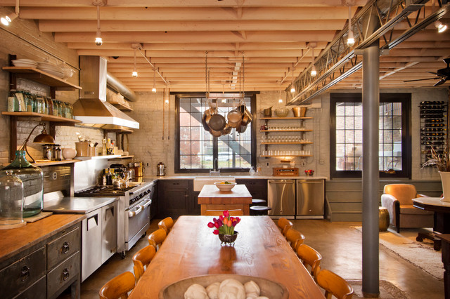 Spray Foam Insulation Diy Kitchen Industrial with Apron Front Sink Concrete Floor Double Oven Eclectic Exposed
