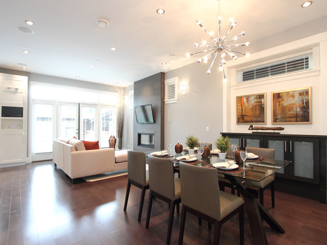sputnik lamp Dining Room Contemporary with Art blinds chandelier clerestory window credenza dining area Fireplace