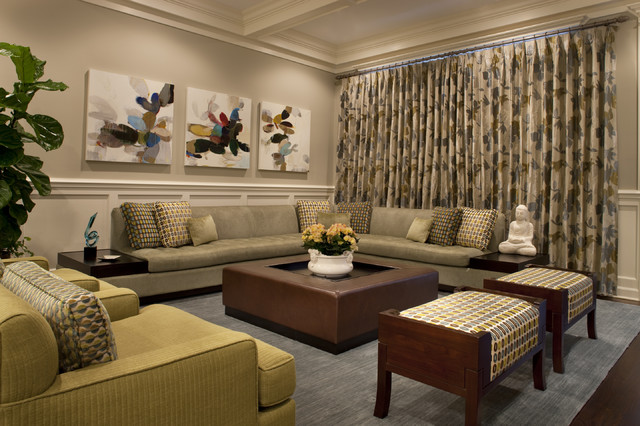 square leather ottoman Family Room Contemporary with area rug artwork coffered ceiling corner sofa curtains drapes