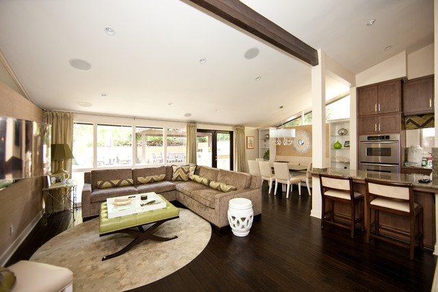 Square Leather Ottoman Family Room Contemporary with Area Rug Breakfast Bar Ceiling Lighting Corner Sofa Curtains