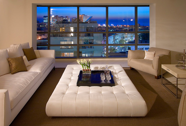 Square Leather Ottoman Living Room Contemporary with Area Rug Decorative Pillows Leather Coffee Table Leather Ottoman