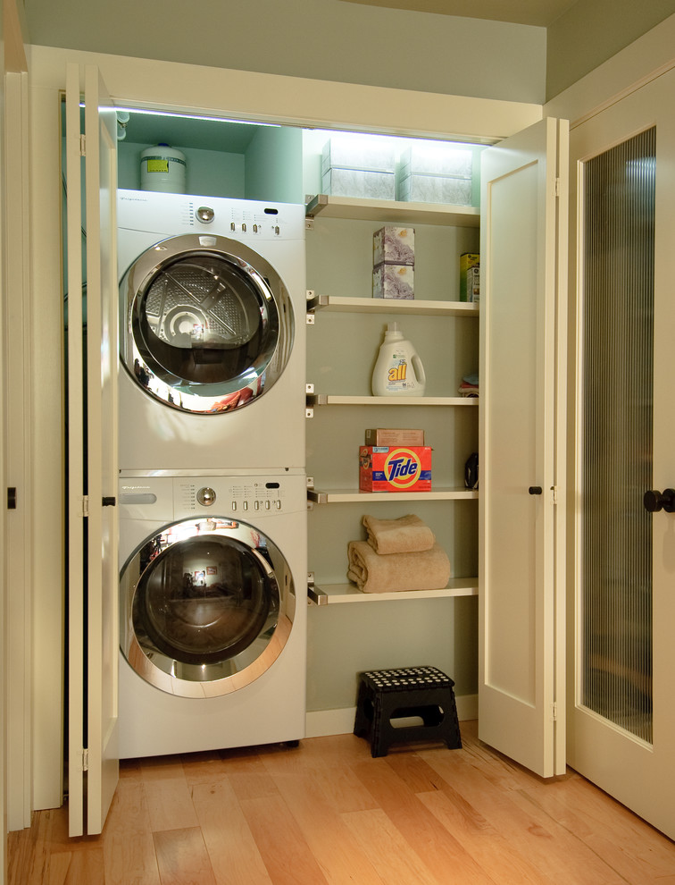 Stackable Washer and Dryer Laundry Room Contemporary with Clean Front Loading Washer and Dryer Green Walls