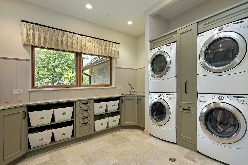 Stackable Washer and Dryer Laundry Room Traditional with Basket Storage Beige Bead Board Beige Stone