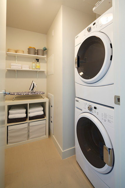 Stackable Washer and Dryers Laundry Room Contemporary with Cubbies Ironing Board Laundry Room Appliances Open Shelves Open