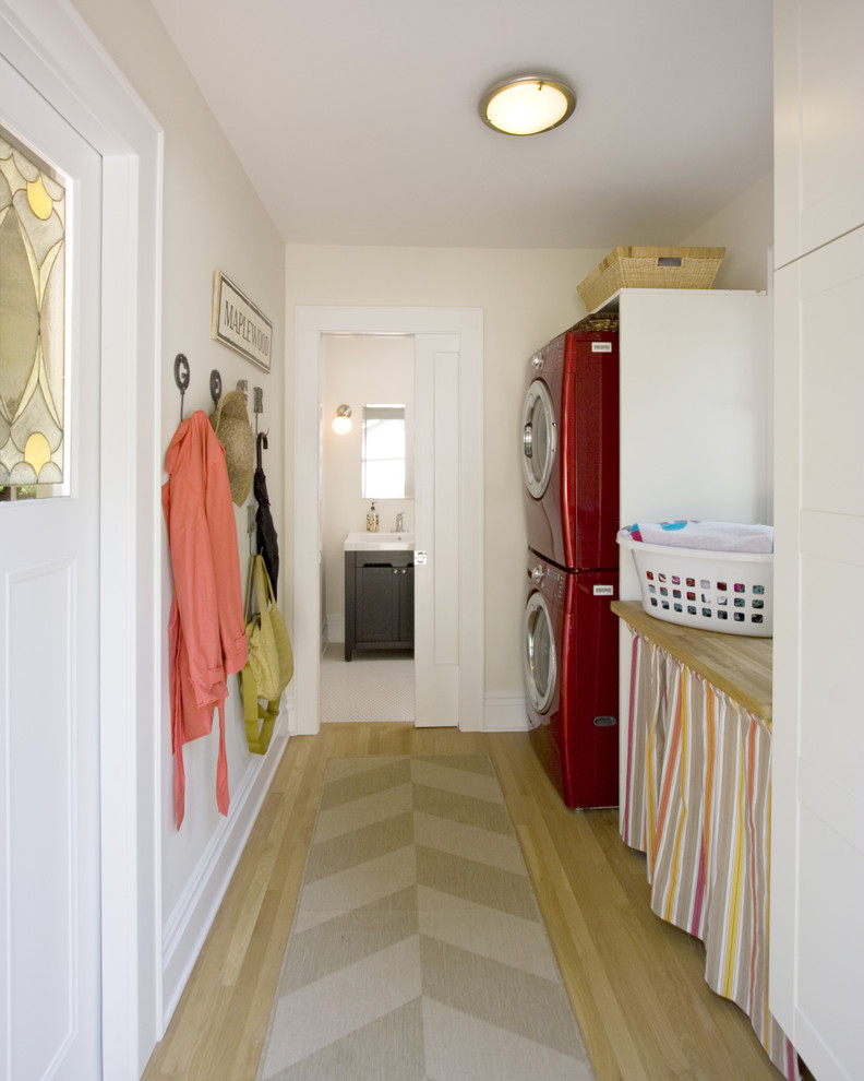 Stackable Washer Dryer Laundry Room Contemporary with Baseboards Ceiling Lighting Coat Hooks Flush Mount