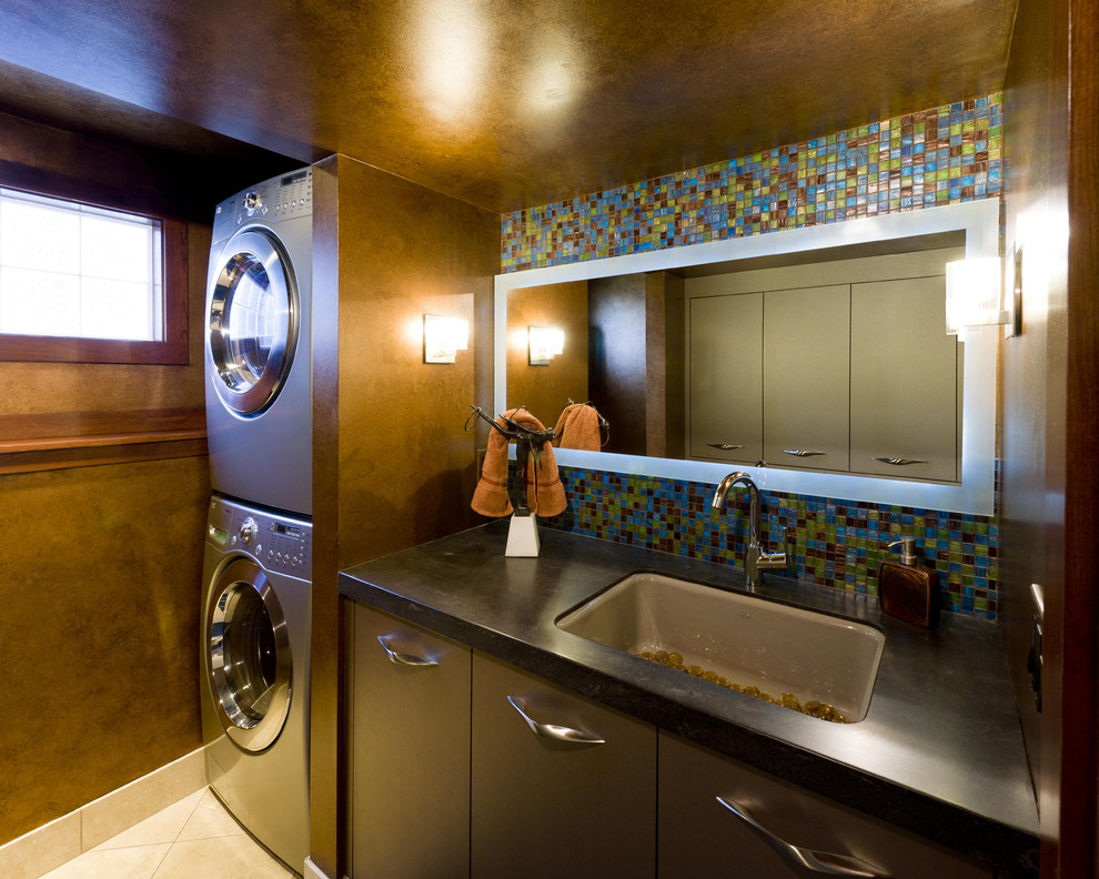 Stackable Washer Dryer Laundry Room Contemporary with Black Counter Dark Walls Flush Cabinets Glass