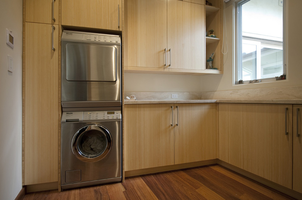 Stackable Washer Dryer Laundry Room Contemporary With Blonde Wood Built In Storage Front Load