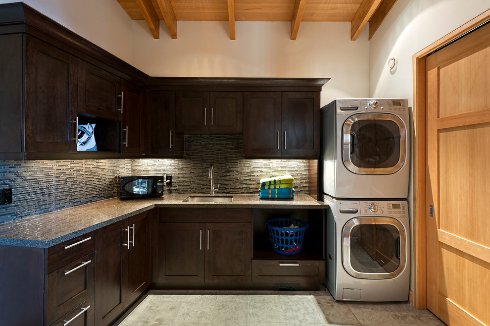 Stackable Washer Dryer Laundry Room Contemporary with Built Ins Custom Cabinets Dark Wood Cabinets Dryer
