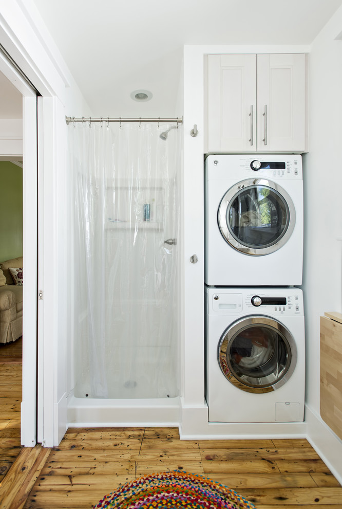 Stackable Washer Dryer Laundry Room Traditional with Alcove Doorway Dryer Efficiency Laundry Storage Nook