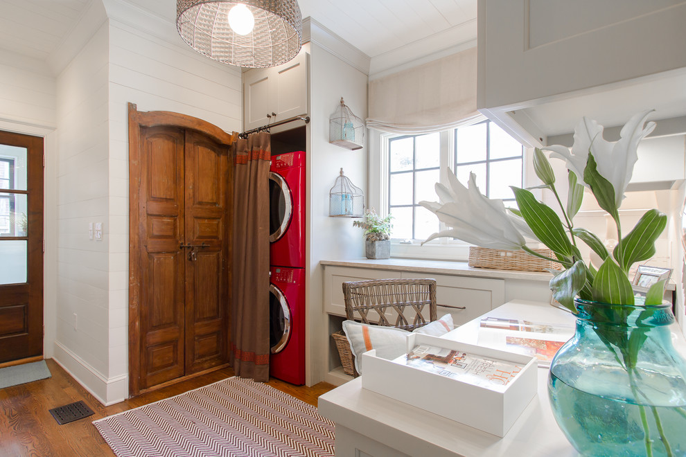 Stackable Washer Dryer Laundry Room Traditional with Basket Beadboard Cabinets Ceiling Light Closet Cottage