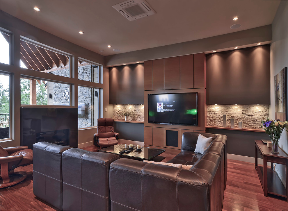 Stacked Stone Backsplash Family Room Contemporary with Beige Wall Brown Leather Sectional Brown Leather