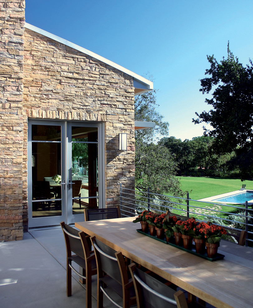 Stacked Stone Veneer Exterior Traditional with Cable Railing Concrete Pavers Concrete Slab Contemporary