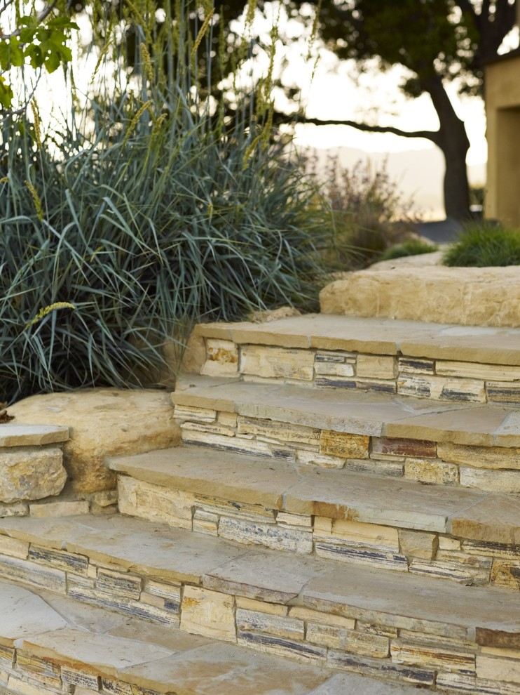 stacked stone veneer Landscape Contemporary with boulder boulders cactus California chaise lounge concrete