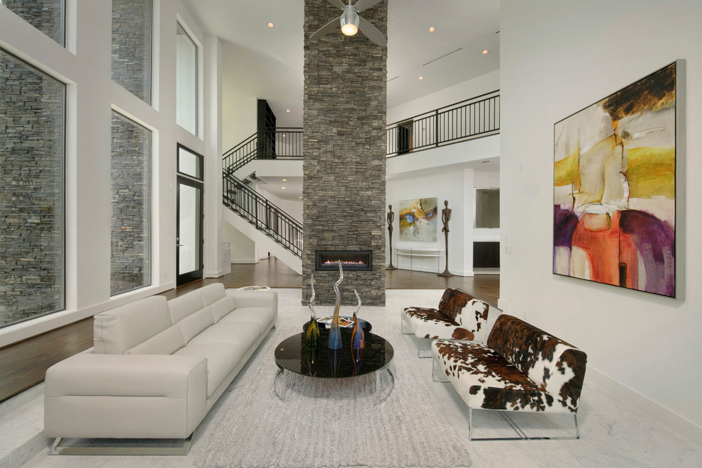 Stacked Stone Veneer Living Room Contemporary with Accent Ceiling Fan Gray Area Rug Gray