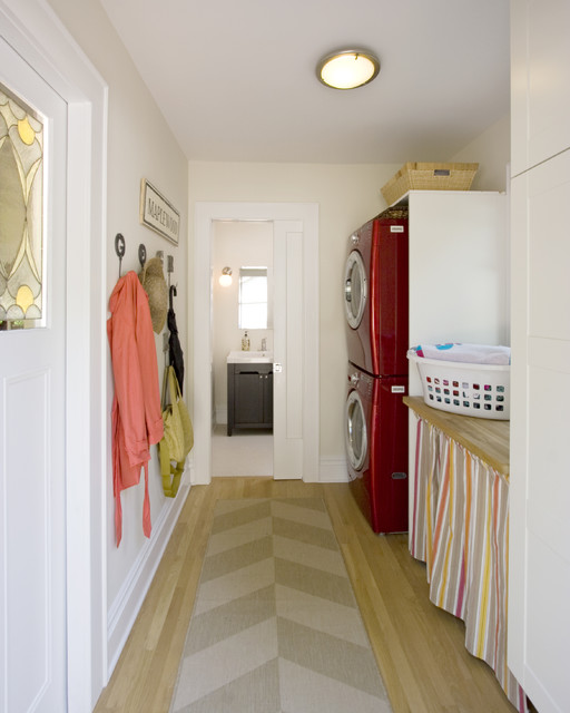 Stacked Washer and Dryer Laundry Room Contemporary with Baseboards Ceiling Lighting Coat Hooks Flush Mount Front Loading