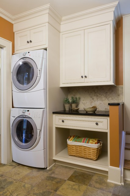 stacked washer and dryer Laundry Room Contemporary with built in storage front loading washer and dryer orange